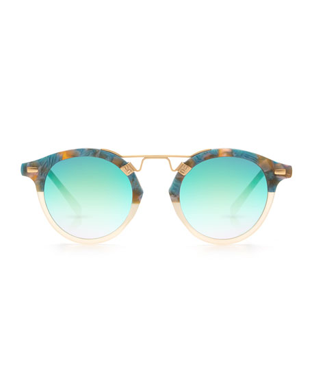 St. Louis Round Two-Tone Sunglasses, Neutral/Blue