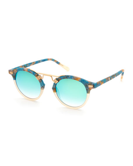 KREWE Women'S St. Louis 24K Mirrored Round Sunglasses, 46Mm in Neutral Pattern