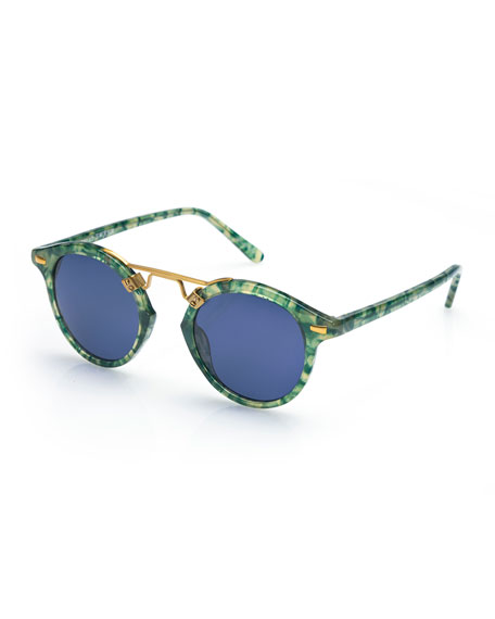 KREWE St. Louis Round Monochromatic Sunglasses, Blue/Green