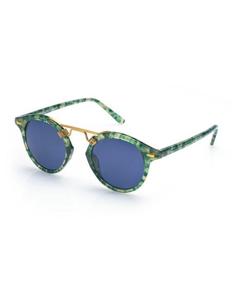 KREWE St. Louis Round Monochromatic Sunglasses, Blue/Green