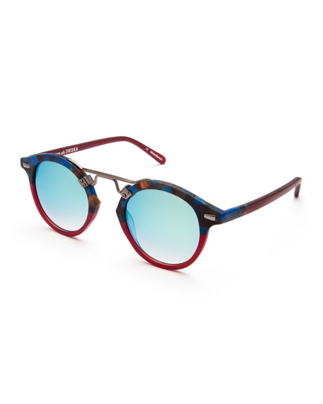 KREWE St. Louis Round Two-Tone Sunglasses, Blue/Red