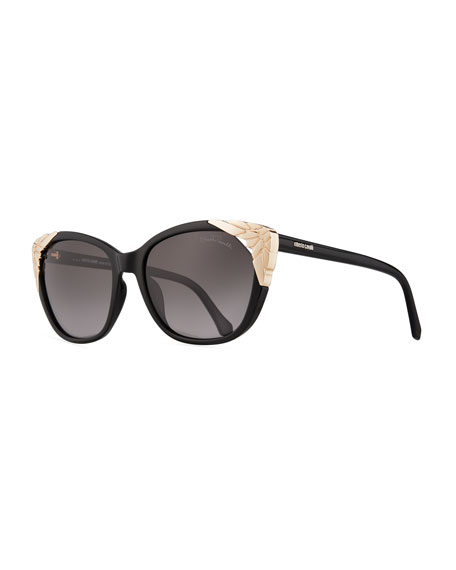 Roberto Cavalli Capped Cat-Eye Sunglasses, Black