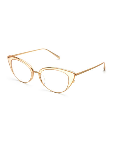 KREWE Clara Titanium Cat-Eye Optical Frames, Champagne