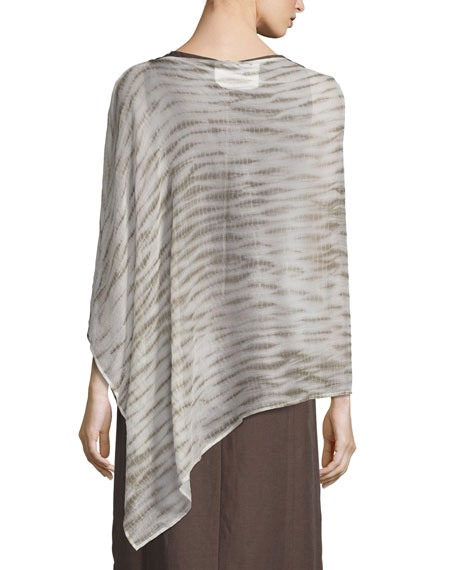 Waterfall Shibori Crinkled Silk Poncho