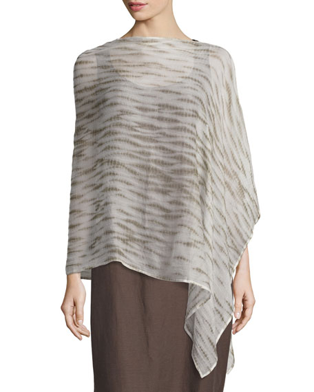 Eileen Fisher Waterfall Shibori Crinkled Silk Poncho