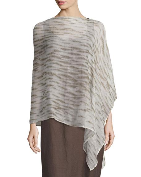 Eileen Fisher Waterfall Shibori Crinkled Silk Poncho