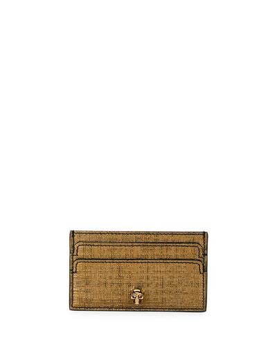 Metallic Lino Embossed Card Case, Gold