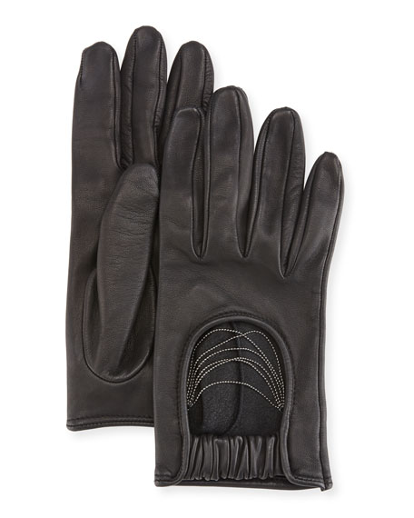 Napa Leather Biker Gloves with Monili Strands, Black