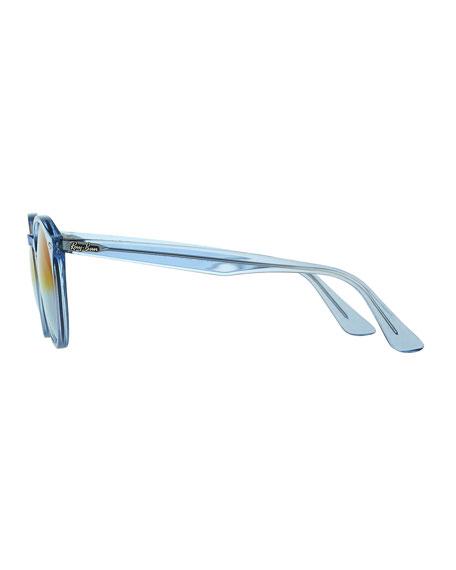 Round Mirrored Iridescent Sunglasses, Blue