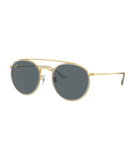 Ray-Ban Unisex Brow Bar Round Sunglasses, 51Mm in Gold Frames/Green Lenses