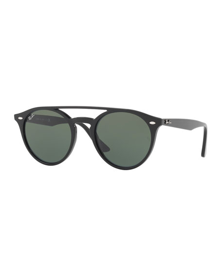 Ray-Ban Round Brow-Bar Sunglasses, Black/Green