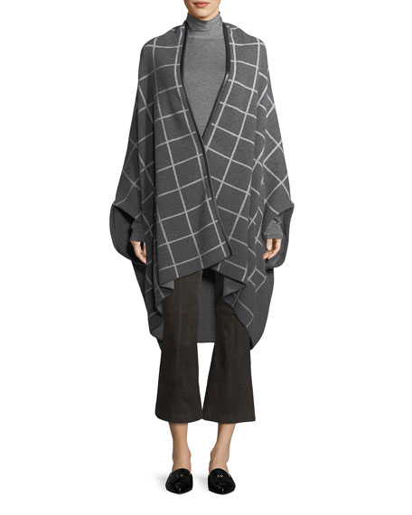 St. John Collection Felted Wool Windowpane Jacquard Shawl