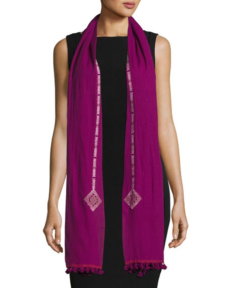 Diamond-Print Organic Cotton Jamdani Scarf, Boysenberry