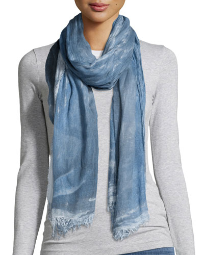 Hand-Dyed Modal/Silk Ombre Scarf, Denim