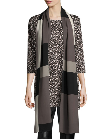 Caroline Rose Blocks Georgette Scarf, Multi Black