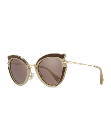 Miu Miu Noir Gradient Cat-Eye Silk Satin Sunglasses,