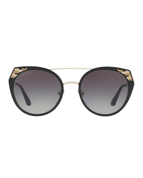 Serpenti Round Mitered Metal Sunglasses