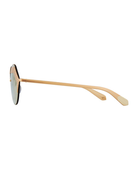 Serpenti Rimless Round Sunglasses, Yellow/Pink