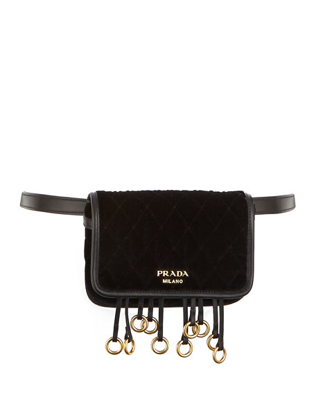 Prada Quilted Velvet Belt Bag & Crossbody Chain