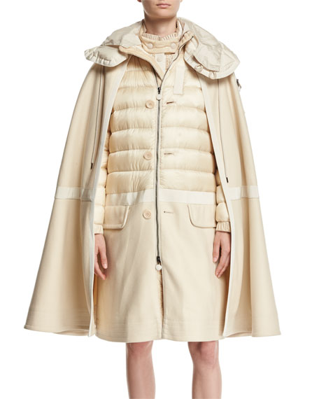 Moncler Constance Cape Quilted Puffer Jacket and Matching