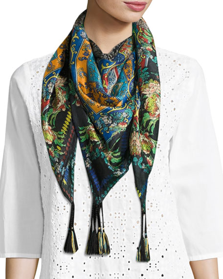 Johnny Was Sathya Printed Silk Scarf