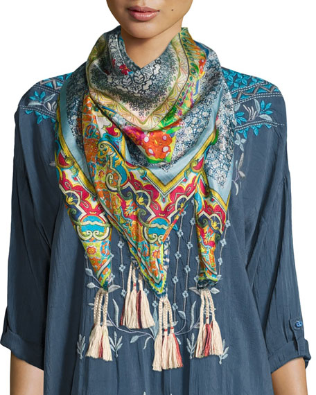 Johnny Was Karino Printed Silk Tassel Scarf