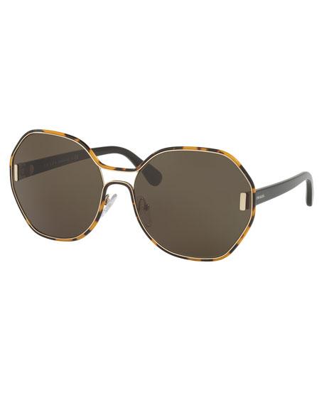 Trimmed Monochromatic Octagonal Sunglasses