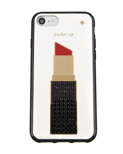 pucker up jeweled lipstick phone case