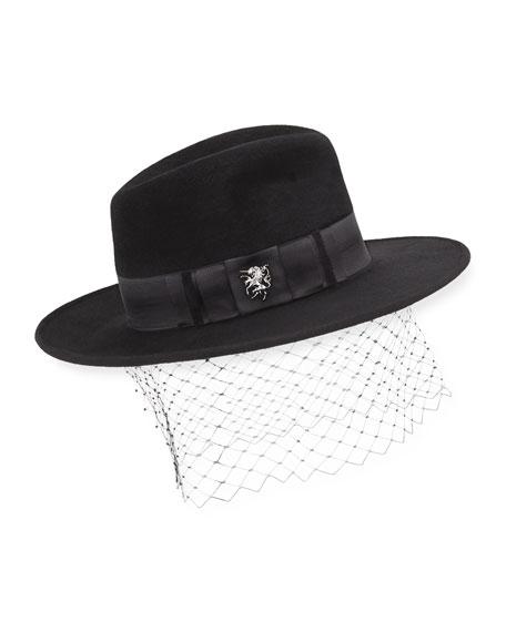 Velour Trilby Hat w/ Unicorn Bow
