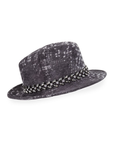 Philip Treacy Printed Velour Trilby Hat w/ Jewel