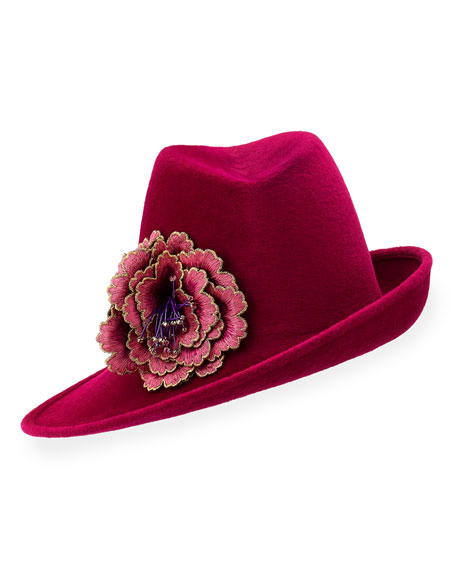 Sidesweep Fedora w/ Embroidered Flower