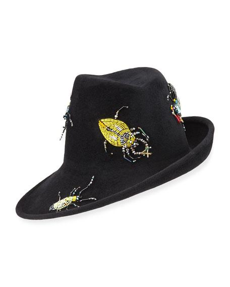 Sidesweep Fedora w/ Beaded Beetles