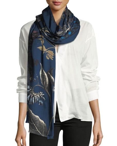 Goya Wool-Blend Printed Scarf, Blue