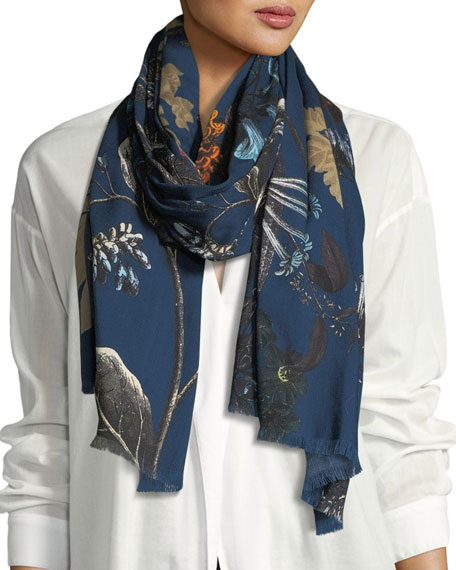 St. Piece Goya Wool-Blend Printed Scarf, Blue