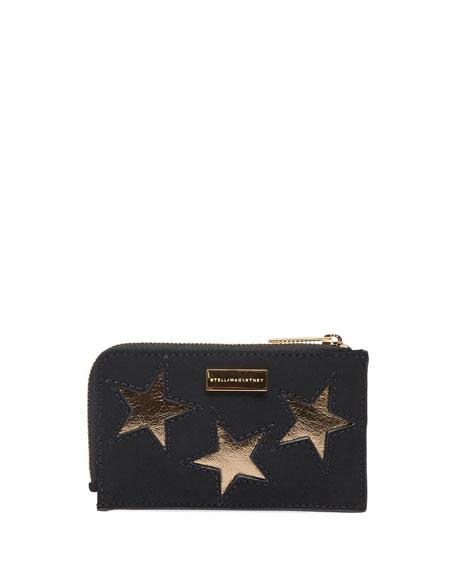 Gold Star Zip Card Holder, Black/Gold