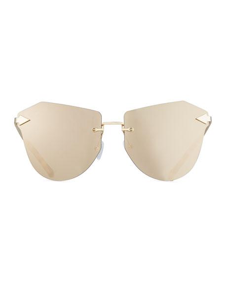 Dancer Rimless Cat-Eye Sunglasses, Tortoise