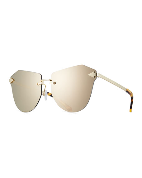 Karen Walker Dancer Rimless Cat-Eye Sunglasses, Tortoise