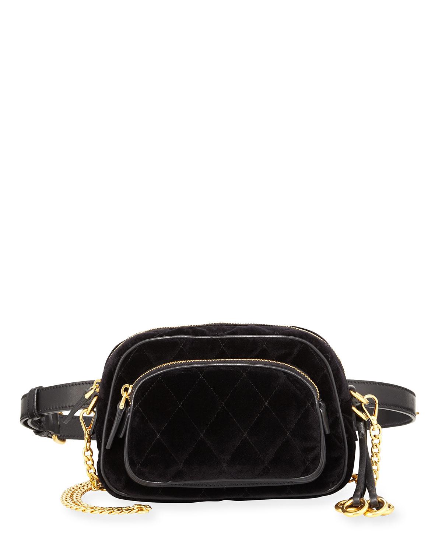 b78620d29ff0 Prada Cahier Small Velvet Convertible Belt Bag