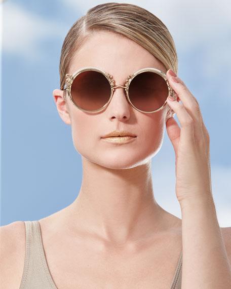 Round Metal Adorned Sunglasses