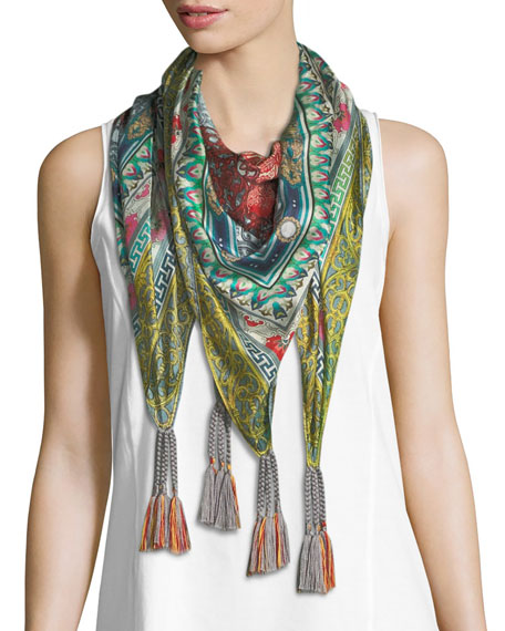 Johnny Was Annabelle Floral-Print Silk Scarf and Matching