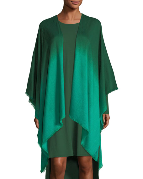 Eileen Fisher Ombre Wool/Silk Wrap, Plus Size and
