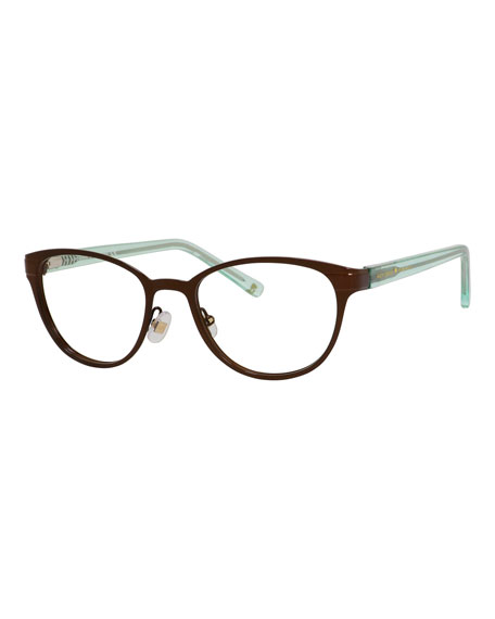 kate spade new york two-tone logo readers, brown/green
