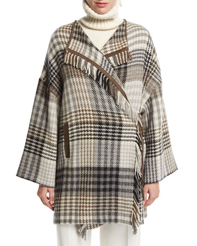 Traford Plaid Fringe Poncho