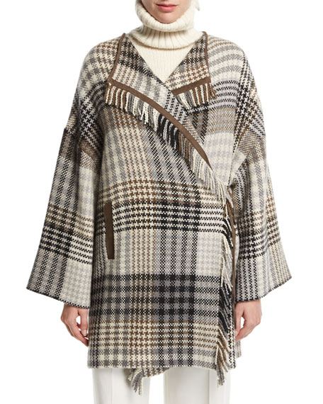 Loro Piana Traford Plaid Fringe Poncho