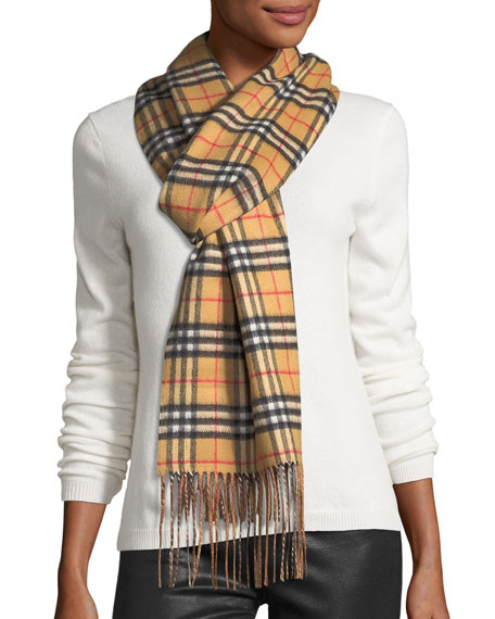 Cashmere Check-to-Solid Reversible Scarf