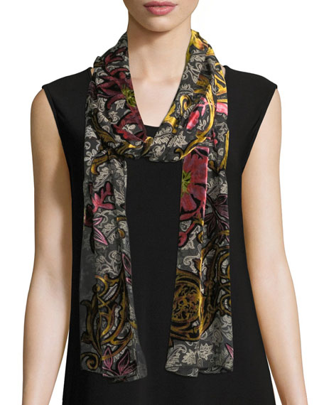 Caroline Rose Double Printed Devore Scarf