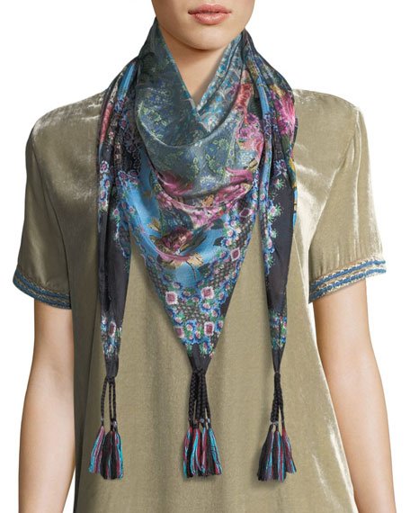 Johnny Was Besimo Printed Silk Georgette Scarf