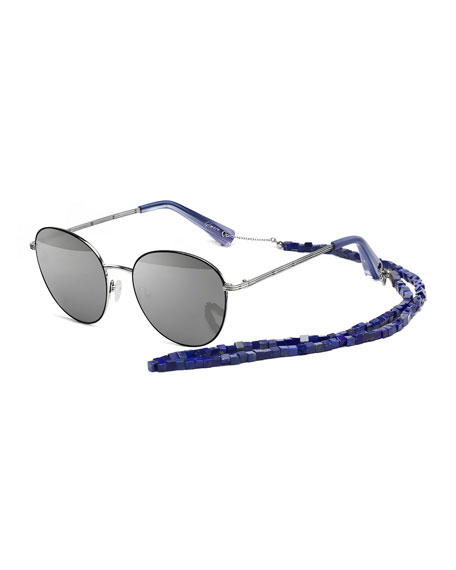 Elizabeth & James Gilmour Oval Sunglasses w/ Stone