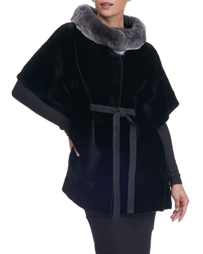 Sheared Mink Fur Cape with Chinchilla Collar