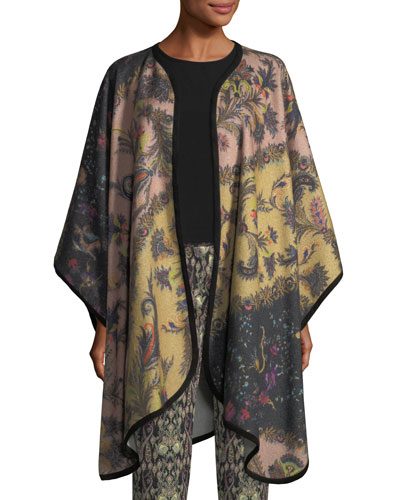 Wool-Cashmere Printed Cape